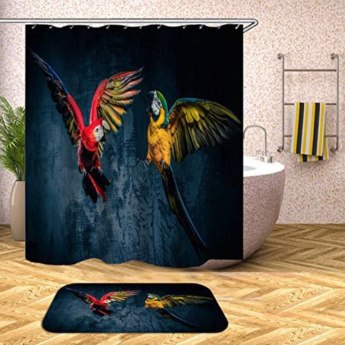 ZLWSSA 3D Wasserdicht Duschvorhang Papagei Schmetterling Bad Gardinen Für Badewanne Extra Große Breite Haken G 180x240cm