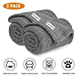 Premium Fluffy Fleece Dog Blanket, Soft and Warm Pet Throw for Dogs & Cats (2-Pack Small 24x32'', Grey)