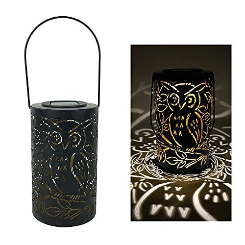 Fesjoy Farol solar, luz solar de búho, luz blanca cálida, lámpara de mesa retro IP44 resistente al agua para colgar luces para patio jardín
