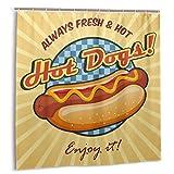 Cortina de ducha para baño Conjunto de cortinas de decoración, diseño de dibujos animados dulce para hot dog Stands de comida rápida Carros Cortinas de baño de tela sandwich con ganchos 72x72in