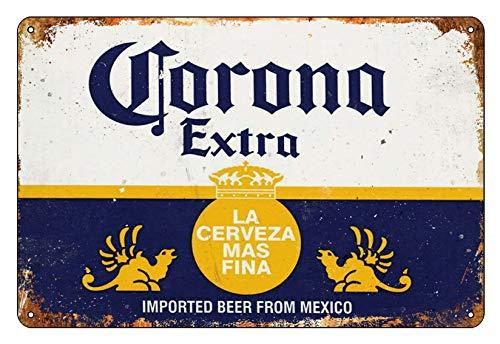 Asher Logo en étain d'art nostalgique : l'inspiration Principale de la bière mexicaine Corona-Design Club Décoration murale Dimensions 20 cm x 30 cm