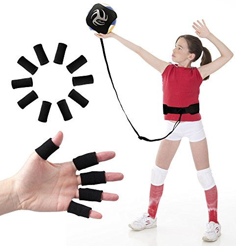 Volleyball Training Equipment Aid - Practice Your Serving and Spiking with Ease, Great Solo Serve & Spike Trainer for Beginners & Pro, Bonus 10 Finger Sleeves Support, for Teen Players