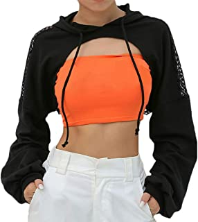 Women's Mesh Fishnet Patchwork Crop Top Hoodie Sexy Long Sleeve Pullover Shirts