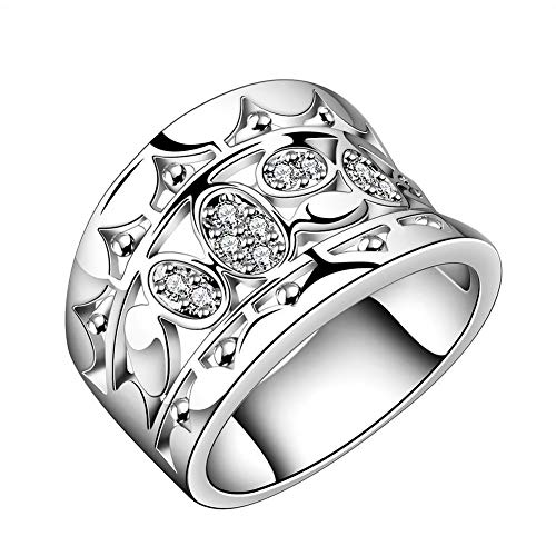 Gcroet Diamond Zircon Wide Ring Wedding Rings Women Natural Crystal 925 Solid Sterling Silver Ring R570 Size 7 (Silver)