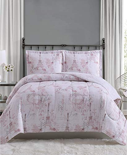 Pem America Pink White Paris Eiffel Tower Queen Bedding Set - Comforter and 2 Shams Full - Queen - Blush Jacquard