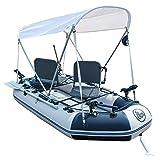 Juego de botes inflables con remos y bomba de aire, barco de pesca con red Barco de kayak con fondo duro engrosamiento Barco inflable Bote de asalto Barco a la deriva Isla de fiesta Isla, white, 2.6m
