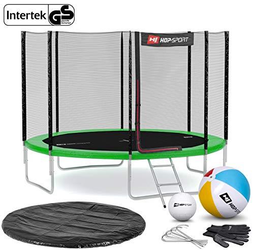 Hop-Sport Gartentrampolin Outdoor Trampolin 244, 305, 366, 430, 490 cm Komplettset inkl. Außennetz Leiter Wetterplane Bodenhaken 305cm 4 Beine