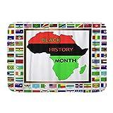 LnimioAOX Badematte Teppich, grünes Afrika zeigt afrikanische & Schwarze kultivierte Flaggen für Geschichte Monat Rote Karte Erbe, Plüsch Badezimmer Dekor Matten mit Rutschfester Rückseite