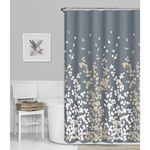 MAYTEX Faux Silk Fabric Shower Curtain, Ivory and Tan Sylvia Duschvorhang aus Kunstseide, elfenbeinfarben & Hellbraun, Polyester, 70