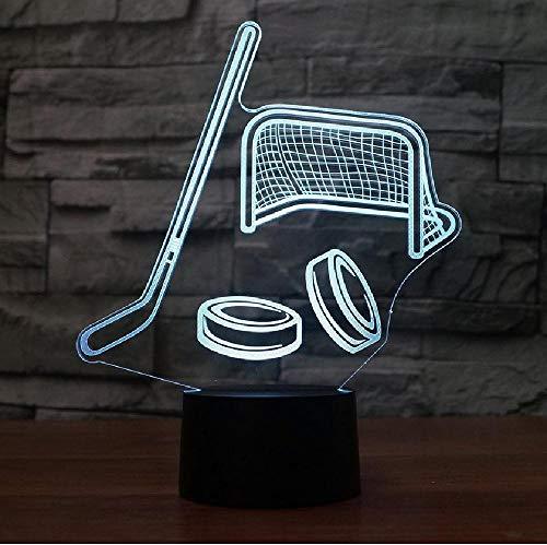 Hockey 3D nachtlampje usb LED tafellamp illusie lamp 7 kleurverandering voor kinderen kinderen slaapkamer sfeer lamp, kleurrijke romantische geschenken voor kinderen en vrienden