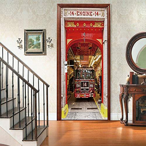 APAJSG Pegatinas Puertas Interiores 3D Vinilo Autoadhesivo Adhesivos para puertas Dormitorio decoración del hogar Cartel 95x215 cm Tren fuera de la estación
