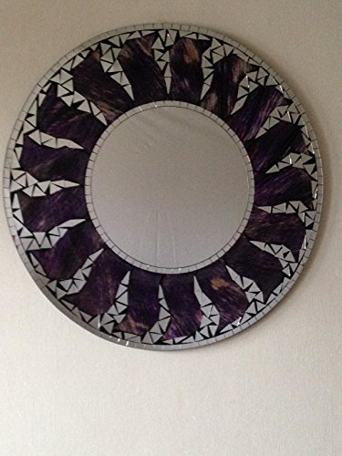 funky global Fair Trade Round Sun Glitter Specchio Fatto a Mano Viola 60 CMS