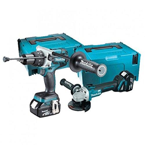 Makita - Taladro atornillador percutor DHP481+ Esmeriladora 115mm DGA454con 4baterías 18V 5Ah