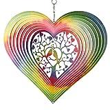 CIM Edelstahl Windspiel - Rainbow Lovebirds - Ø 200mm - leichtdrehendes Windmobile mit brillanten...