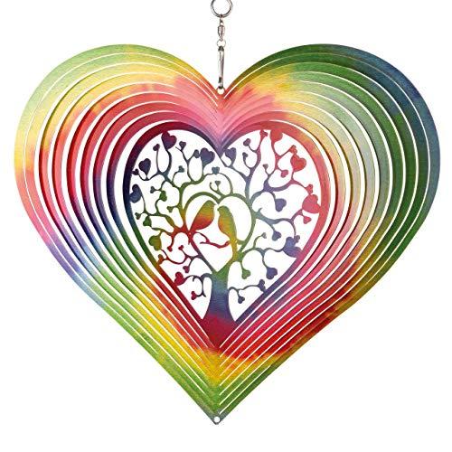 CIM Edelstahl Windspiel - Rainbow Lovebirds - Ø 200mm - leichtdrehendes Windmobile mit brillanten Farben- inklusive Aufhängung – attraktive Raum- Fenster und Garten-Dekoration