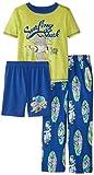 Komar Kids Little Boys' Surfing Shark 3 Piece Pajama Set, Royal Blue, X-Small