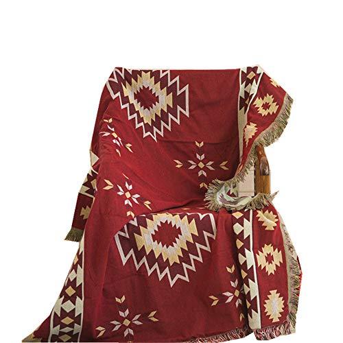 coperta cotone,Cuscino per divano bohémien etnico americano per la casa, coperta per divano antipolvere in cotone e lino -130 * 160 cm