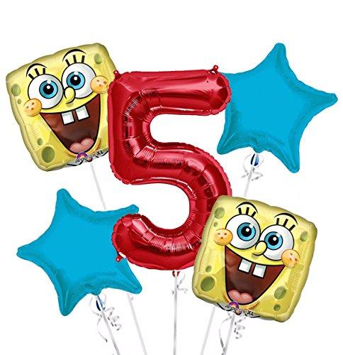Sponge Bob Happy Face Balloon Bouquet 5th Birthday 5 pcs - Party Supplies