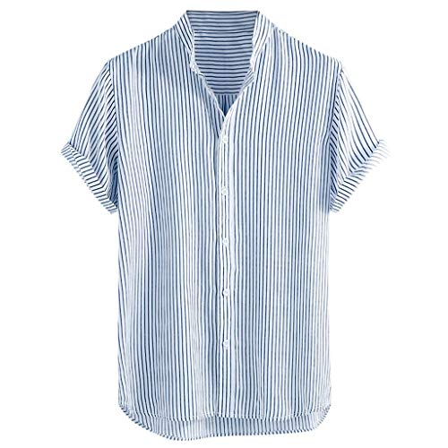 Men's Stand Collar Stripe Shirt,Summer Short Sleeve Loose Buttons Casual Shirt for Party,Daily,Beach Gray