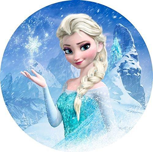Frozen, ELSA Runde Tortenaufleger Eiskönigin 20CM - Geburtstag Tortenbild Zuckerbild Tortenplatte Oblate Kuchenzuckerplatte