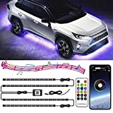 Car Underglow Lights, 4PCS 16 Colors Car Neon LED Strip Lights 12V RGB Waterproof Underbody Decorative Lights Kit with Wireless Bluetooth Control and Music Sounds Activated Atmosphere Lights