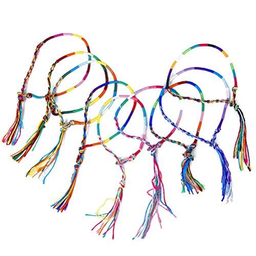 Pixnor Bracelets de cheville poignet de 9pcs fil tressé à la main Friendship Bracelets (couleur aléatoire)