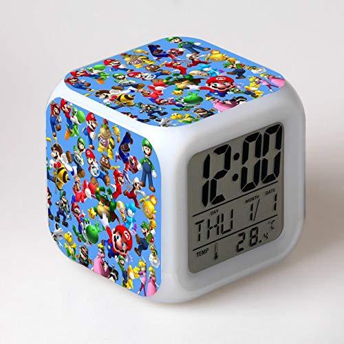 GUOYXUAN Despertador Reloj Digital de Dibujos Animados Despertador luz led Reloj Reloj Reveil Escritorio wekker 18