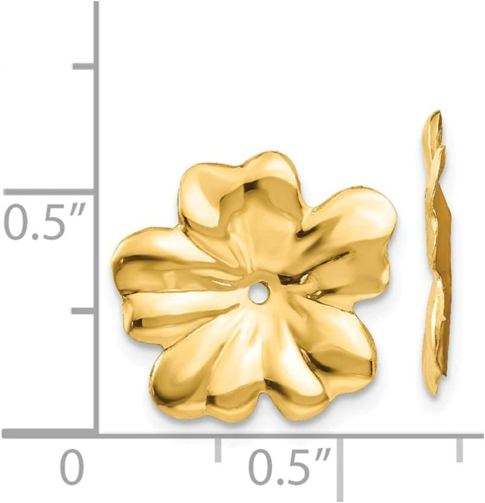 14K Yellow Gold Polished Floral Earring Jackets