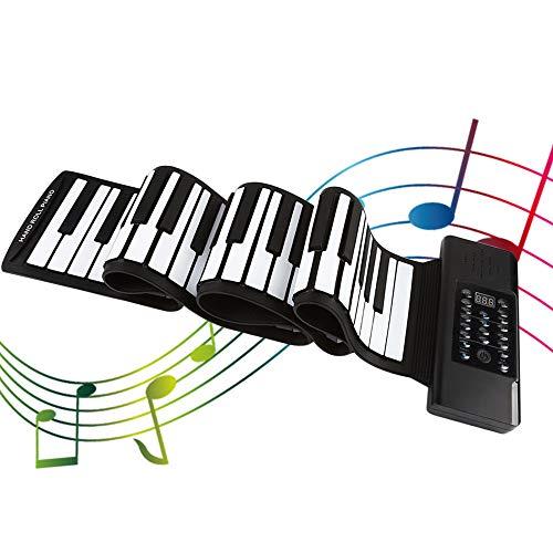KKTECT Teclado Electrónico Piano Enrollar el piano de 88 teclas Teclado digital plegable con 128 ritmos y 128 tonos Fuente de alimentación dual El uso continuo puede durar hasta 3 días