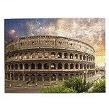 HASENCIV 500 Piezas Rompecabezas Rompecabezas Foro Coliseo de Color Azul Roma Italia Parques Flavios Coliseo Rojo Anfiteatro Romano Romano Empire Field Familia Educativo Intelectual Descompresión