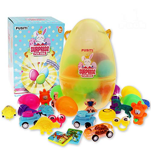 PUSITI Surprise Easter Eggs with Toys Inside 20 Toys Filled 2.3 Inch Little Eggs in 7.6 Inch Big Egg Toys for Kids Birthday Chrismas Gift for Boys and Girls Party Favors Toys for Children