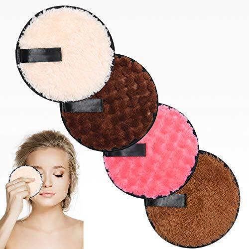 URAQT Almohadillas Desmaquillantes, 4 Pack Discos Desmaquillantes Reutilizables, Toalla Desmaquillante Facial Microfibra Lavable, Maquillaje de Limpieza Facial Almohadillas para Todo Tipo de Pieles