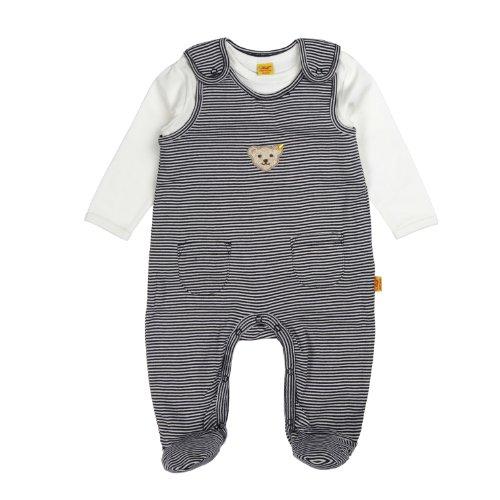 Steiff Unisex - Baby Strampler, gestreift 0006605, Gr. 56, Blau (3032)