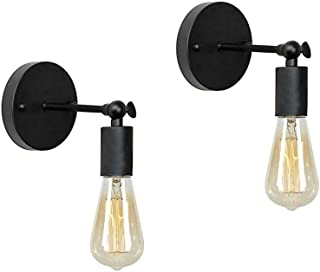 Anmytek Wall Light Fixture,Industrial Retro Rustic Loft Antique Wall Lamp Edison Vintage Pipe Wall Sconce Decorative Fixtures Lighting Luminaire (Bulbs not Included) (Simple Black 2pack)