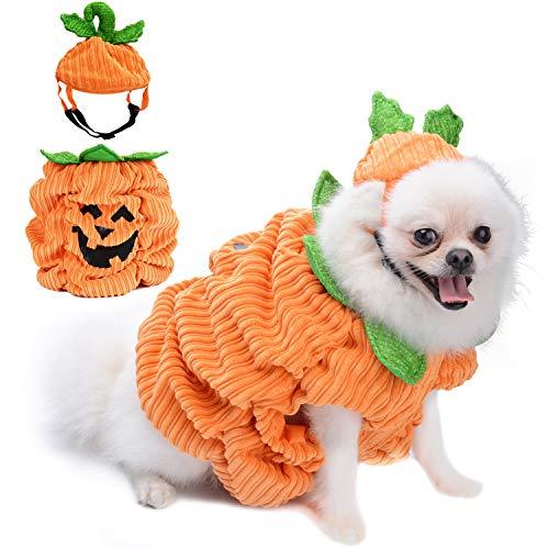 Legendog Hunde Halloween Kostüm,Halloween Haustier Hund Kürbis Kostüm mit Kürbis Headwear/Halloweenkostüm für Hund Welpe Party Coslay Dekoration