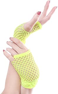 SGJFZD Stretchable Fingerless Neon Fishnet Gloves Sexy Gloves (Color : Green)