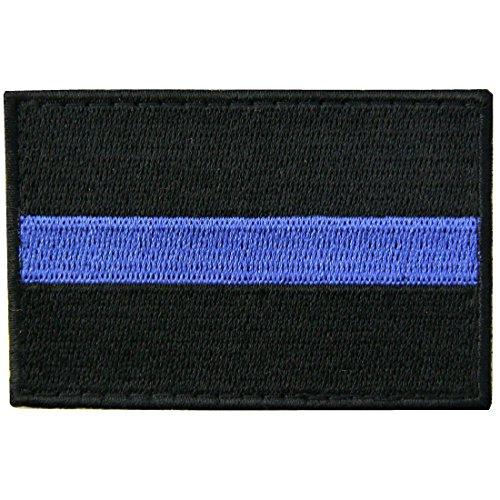 Thin Blue Line Aufnäher, bestickt, taktische Applikation, Armee, Moral, Haken und Schlaufe, Emblem
