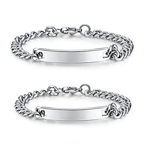 Vicney Jewellery-Coppia di bracciali da Donna con Braccialetto in Acciaio Inox con Incisione Personalizzata per Lover, Braccialetto da Uomo (Lover(Una Coppia))