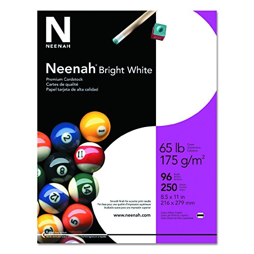 Neenah Bright White Cardstock, 8-1/2 x 11 Inches, 65 lb, Pack of 250