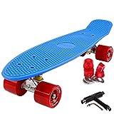 FunTomia Mini Board monopatín Skateboard 57cm - con o sin LED Ruedas - Wheel 59mmx45mm (82A) - Rodamiento ABEC-11 (Azul/Rojo - sin LED + T-Tool)