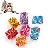 EIKLNN 8 Piezas Juguete de Resorte de Gato, Juguetes Interactivos Duraderos para Gato, Muelles en Espiral Colorido, Muelles en Espiral de Plástico, para Gato Mascotas Regalo de Novedad