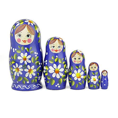 Heka Naturals Russische Matroschka-Puppen, 5 traditionelle Matroschkas Romashka-Stil | Babuschka Holzpuppen, Blau mit weißem Blumen-Design, Handgefertigt in Russland | Romashka, 5 Stück, 14 cm