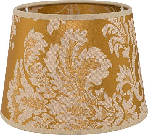 Stoff Lampenschirm Tischleuchte Gold mit Barock Muster E14 einfarbig Textil Schirm Tischlampe