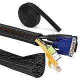 MOSOTECH Organizador Cables, 2 X 1.6m Cubre Cables Expandible con Corte Fácil Negro Bridas, Organizador de Cables Mesa a Prueba de Polvo para Office y PC Escritorio, Ø19mm, Negro