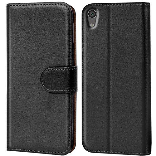 Verco Handyhülle für Sony XA1 Ultra Hülle, Schutzhülle für Sony Xperia XA1 Ultra Tasche PU Leder Flip Hülle Brieftasche - Schwarz