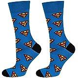 soxo lustige Herren Superman Socken   Größe 40-45   DC Comics Herrensocken aus Baumwolle   Besondere, mehrfarbig gemusterte Lange Socken für Männer