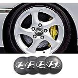 Para Hyundai Solaris ix35 i20 i30 i40 HYUNDAI Tucson CRETA Santa 60mm,4 Piezas Coche Tapas centrales Aleación Tapacubos con Emblema De Insignia Embellecedor Central De Llanta De Rueda Cubre Accesorios