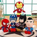 Juguete de Peluche de Spider-Man de Marvel, muñeco de Iron Man, muñeco de Trapo con Almohada para Dormir de los Vengadores, un Conjunto de Cinco Regalos de cumpleaños 28CM