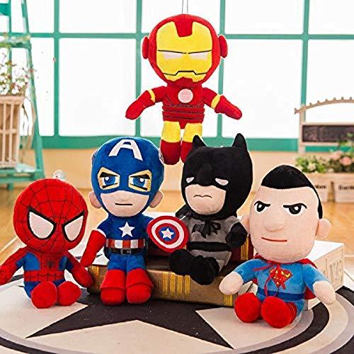 Muñeco de Peluche de los Vengadores de Marvel, muñeco de muñeco Spiderman Superman Batman Capitán América Iron Man, Juego de Regalo de cumpleaños de Cinco 28cm