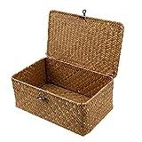 Esoes - Cesta de mimbre de almacenamiento de mimbre tejida con tapas, cestas de lavandería, organizador de maquillaje para baño, sala de estar, cocina, marrón, Large